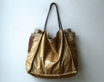 ready to ship - LACQUERED LINEN Large Shopper - Copper lacquered linen tote with leather straps & two side pocket