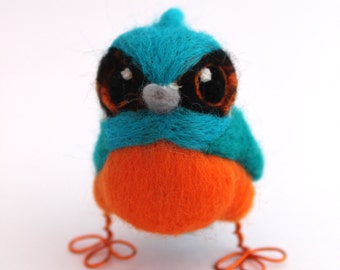 Mini Needle Felted Kingfisher British Kingfisher, Felt Bird