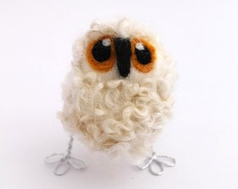Baby Owl Cute and Fluffy Natural White Needle Felted Owl Baby