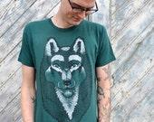Wolf Shirt, dog shirt, husky shirt, sled dog, animal shirt, american apparel, green shirt, gift for him