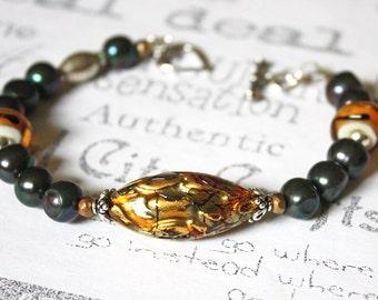 Black and Gold Murano Glass Bracelet, Murano Glass, Freshwater Pearl and Lamp Work Glass Artisan Bracelet, Gold and Black Fashion Bracelet