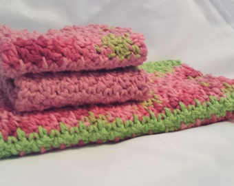 Dishcloth and Towel Set, Watermelon Stripes