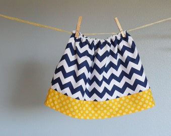 skirt navy blue yellow polka dots baby girl skirt toddler birthday outfit first birthday skirt baby girl shower gift zigzags chevron