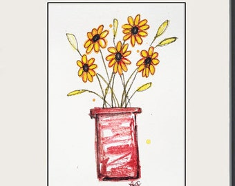 Black-eyed Susan in a Clay pot - Original Whimsical Watercolor Painting - 5x7 - still life art