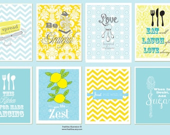 Funny Kitchen Decor, Retro, Butter, Zest, Dancing, Grateful, Quotes, Set of eight 11x14 Posters