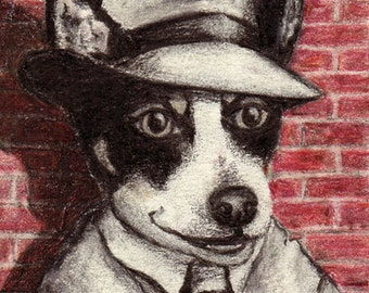 ACEO Mini Print Word Slinger Fox Terrier Dog by Rebecca Salcedo EBSQ A4C Tiny Art