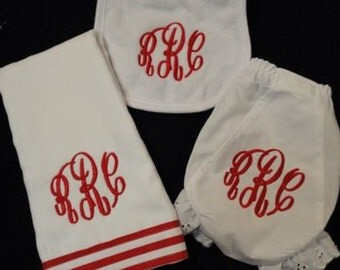 3 piece Monogrammed Personalized Baby Gift Set- Burp Cloth, Bib and Bloomer Set
