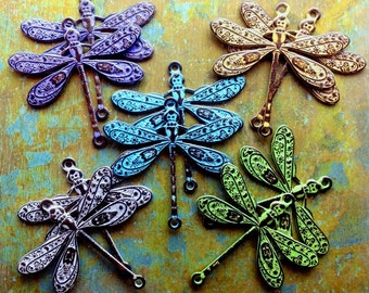 Dragonfly Connector Charms - 2 pcs - Brass Dragonflies - Aged Brass - Choose Your Finish - Patina Queen