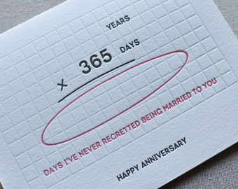 Happy Anniversary Years x Days Math Card and Envelope