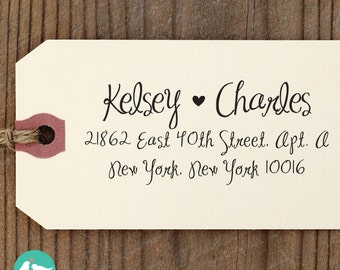 "CUSTOM ADDRESS STAMP - Eco Friendly & self inking return address stamp, heart  custom stamper,  personalized address stamp ""Calligraphy 112"""