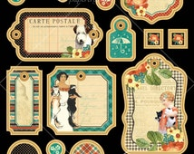 Graphic 45 Raining Cats and Dogs Journaling Chipboard for scrapbooking