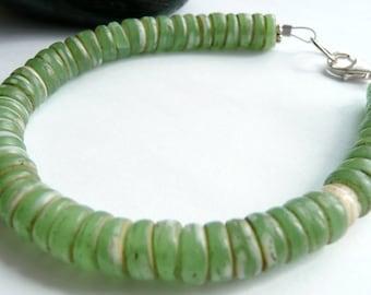 Handcrafted Artisan Sage Green Rare Old Czech Glass Disc Beads Sterling Silver Minimalist Bohemian OOAK Bracelet