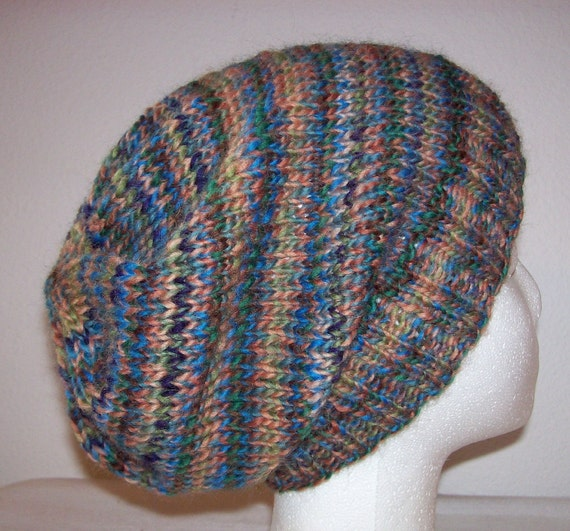 Hipster Hat Knitting Pattern : Wool Hipster Beanie Slouchy Knit Beanie Hand Knit Hat