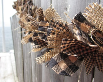 Teastained Black and Tan Fall Garland, Burlap Garland,Homespun Fabric Jute Rustic Primitive Decor