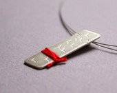 Sterling Silver Pendant with Birds and Red Thread -  Birds Flying High