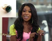 Emerald green Chrysocolla Ring Raw gemstone cocktail ring by Vitrine As worn on Hollywood Today Live