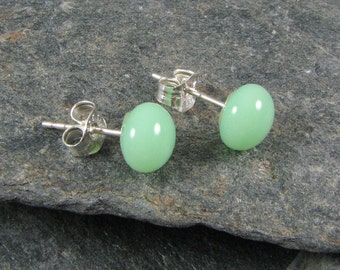 Mint Glass Stud Earrings.  Fused Glass Jewelry.  Mint Earrings.  Glass Jewelry.  Bridesmaid Gifts.  Wedding Jewelry.  Summer Earrings.
