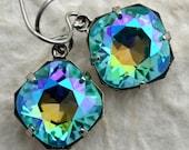 Turquoise Swarovski Crystal Stone Earrings