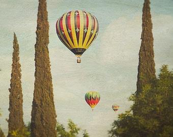 Hot Air Balloons Photography, nursery art print, carnival, vintage, wall art, blue, green, red