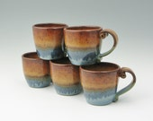 Pottery Bistro Coffee Mug in Honey Brown and Ocean Blue, Stoneware 10 oz Tea Mug, Ready to Ship