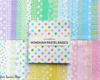 "Windham PASTEL BASICS Precut 5"" Charm Pack Fabric Quilting Cotton Squares Baum CP5PB-80"