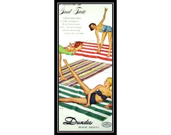 Dundee Beach Sheets 1950s Vintage Advertising Beach Cottage Wall Art Decor E115