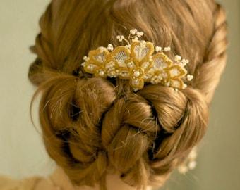 "As seen on Reign / Gold Lace Bridal Hair Comb / Pearl Crystal Wedding Hair Ornament / Art Nouveau Iris Flower /  ""Iris"