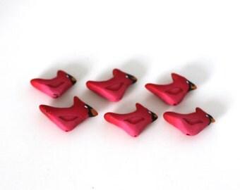 Cardinal Beads, Red Bird Beads, Polymer Clay Birds, 6 Pieces
