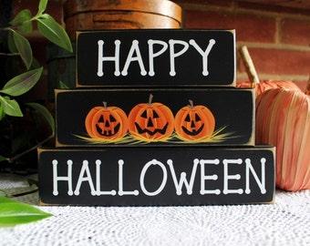 Happy Halloween Sign Shelf Sitter Blocks Spooky Decor Jack o Lantern Pumpkins Stacking Blocks