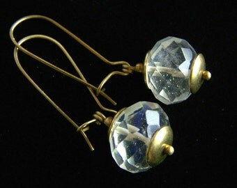 Faceted Pineapple Quartz Lantern Earrings, Everyday jewelry, boho tribal capped solid Brass long kidney ear wires handmade PinkOwlJewelry