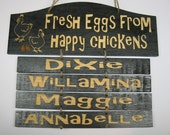 Personalized happy chickens wooden sign large