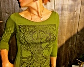 Green Tree Tshirt Celtic Moon Made in USA Stretchy Cotton S M