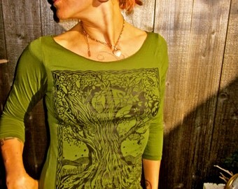 Green Tree Tshirt Celtic Moon Made in USA Stretchy Cotton S & L Only