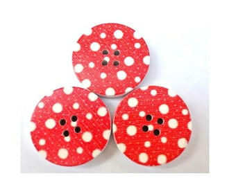 6 Wood buttons, white dots on red 30mm