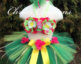 Girl Birthday Luau Outfit, Hawaiian Luau Tutu, Includes Grass Skirt, Halter Top and Hair Bow