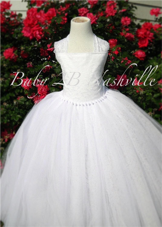 White Lace Flower Girl Dress Wedding Flower Girl Dress