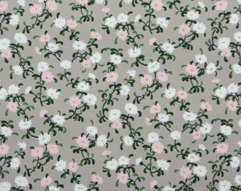 1940s Vintage Wallpaper by the Yard 40s - Pink and White Flowers on Gray, Floral Wallpaper
