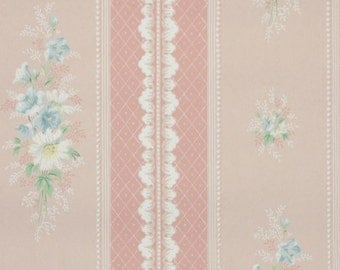 1940's Vintage Wallpaper - Floral Wallpaper with White Daisy and Blue Flowers on Pink Stripes