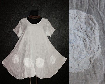 Loose Casual Short White Fairy Pixie Flower Tunic DRESS Plus Size 20 22 24 26 Floral Lagenlook 2X 3X
