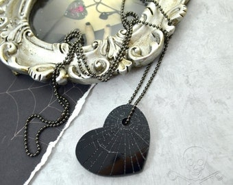 MINI SHATTERED HEART - Black Laser Cut Acrylic Etched Charm Necklace