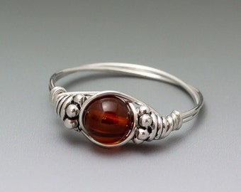 Amber Bali Sterling Silver Wire Wrapped Bead Ring - Made to Order, Ships Fast!