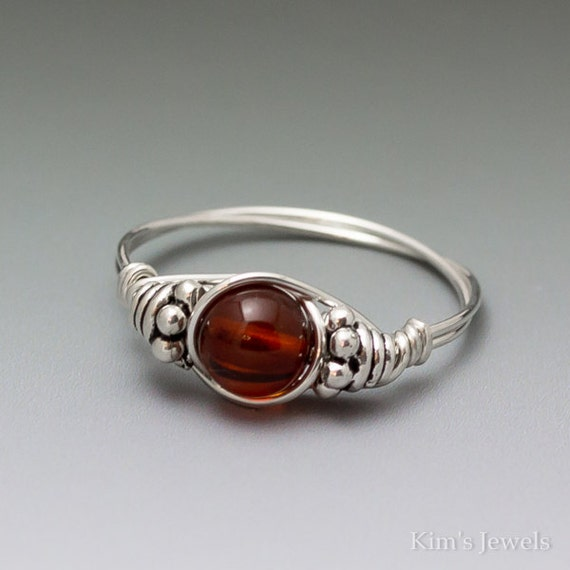 Amber Bali Sterling Silver Wire Wrapped Bead Ring