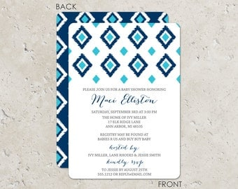 IKAT baby shower blue Invitations