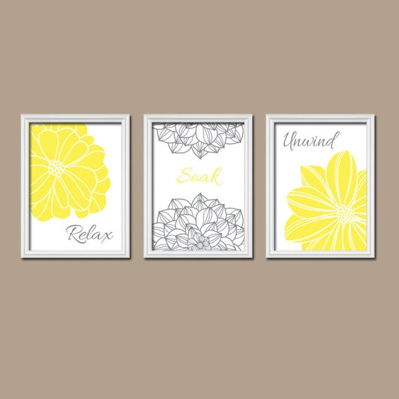 Yellow And Grey Bathroom Wall Decor : Yellow gray bathroom wall art canvas or prints relax by