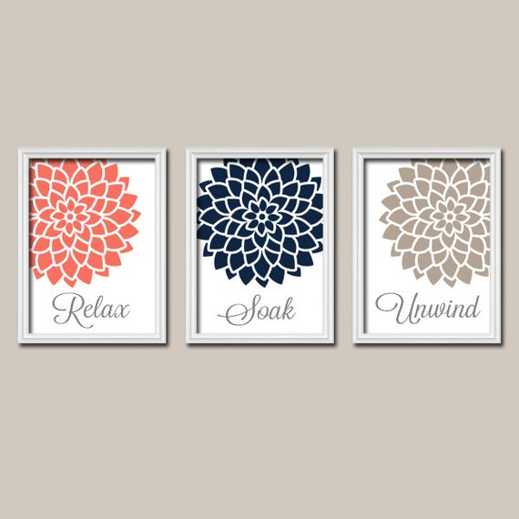 Coral navy bathroom decor wall art canvas or prints by for Navy bathroom accessories