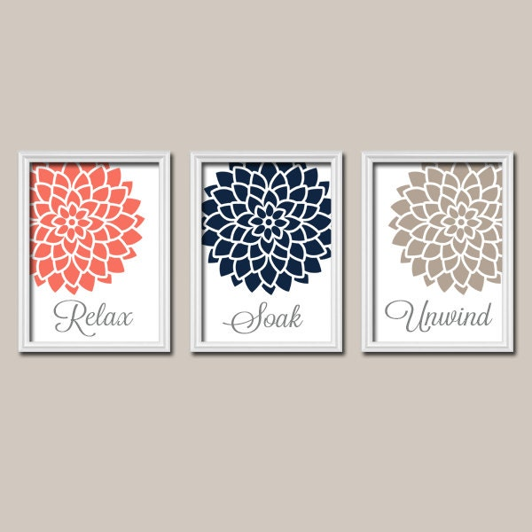 Navy Bathroom Wall Decor : Coral navy bathroom decor wall art canvas or prints by