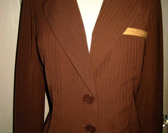 Vintage Designer Jacket Classic Tailored Shape, Lightweight, Mocha Brown Pinstripe Size Small