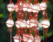 Michigan Copper Nugget Wind Chime with Recycled Aluminum and Copper Wrapped Iridescent Crystal & Opal Pink Glass Marble Prisms, Garden Decor