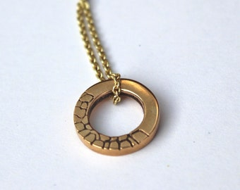 Round Bronze Necklace Handmade Lost Wax Casting Engraved Pendant Circlet on Brass Chains