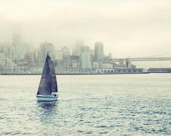 "Beach ocean photography print, sailboat print San Francisco art nautical photograph sailing art gray blue art  ""Bring Me a Boat"""
